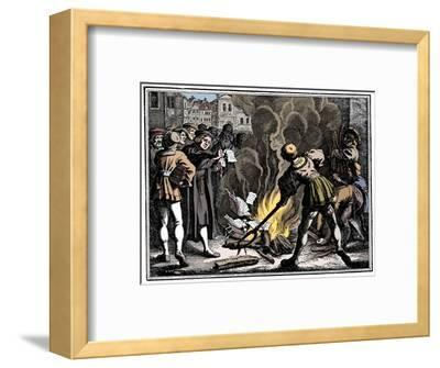Martin Luther burning the Papal Bull, 1520-Unknown-Framed Giclee Print