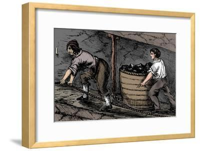 Woman and a boy working in a coal mine, Bolton, Lancashire, 1848-Unknown-Framed Giclee Print