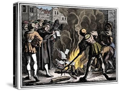 Martin Luther burning the Papal Bull, 1520-Unknown-Stretched Canvas Print