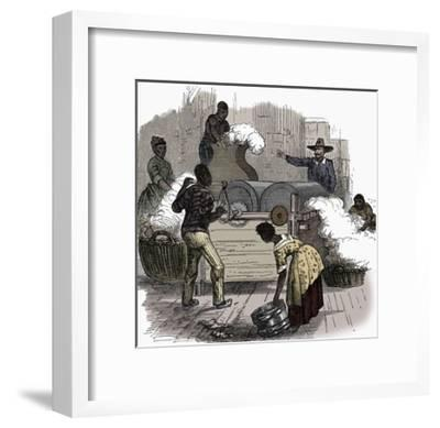 Slave labour on a cotton plantation in the southern states of America, 1860-Unknown-Framed Giclee Print