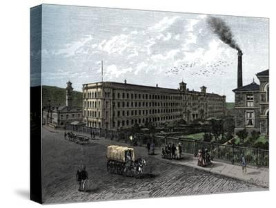 The mill at Saltaire, c1880-Unknown-Stretched Canvas Print