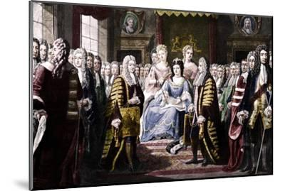 Articles of Union Presented by Commissioners to Queen Anne, 1706-Unknown-Mounted Giclee Print