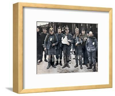Some cheerful wounded from the Neuve Chapelle fighting, wearing captured German helmets, 1915-Unknown-Framed Photographic Print