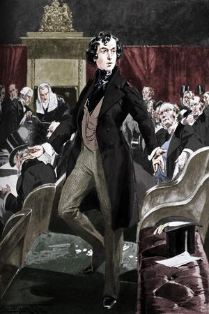 Disraeli's first speech in the House of Commons, 19th century (c1905)-Unknown-Framed Giclee Print