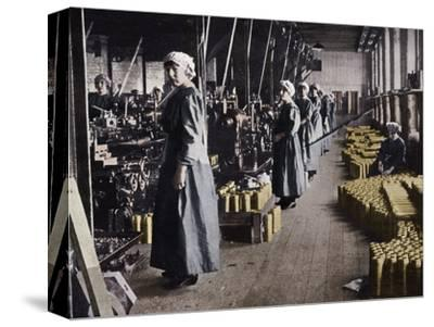 'Girl workers in a munitions factory', 1915-Unknown-Stretched Canvas Print