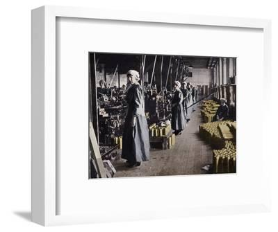 'Girl workers in a munitions factory', 1915-Unknown-Framed Photographic Print
