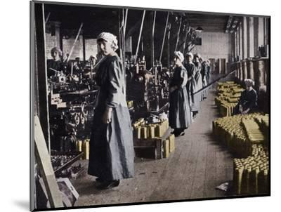 'Girl workers in a munitions factory', 1915-Unknown-Mounted Photographic Print