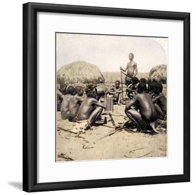 'Braves of a Zulu Village holding a Council, near the Umlaloose River, Zululand, S.A.', 1901-Unknown-Framed Photographic Print