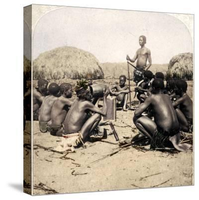 'Braves of a Zulu Village holding a Council, near the Umlaloose River, Zululand, S.A.', 1901-Unknown-Stretched Canvas Print