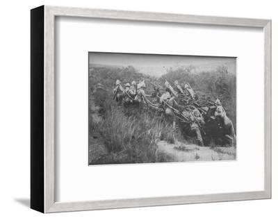 'Rifle Brigade Practising Hill Climbing with Maxim', 1902-Unknown-Framed Photographic Print