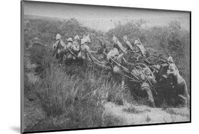 'Rifle Brigade Practising Hill Climbing with Maxim', 1902-Unknown-Mounted Photographic Print