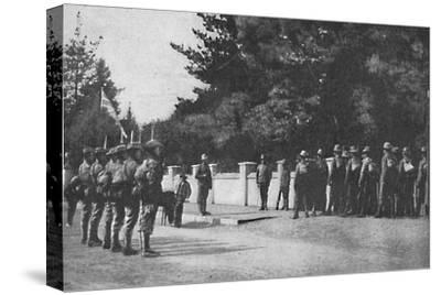 Grenadier Guards (with their new hats) relieving guard at Lord Roberts's headquarters, Pretoria-Unknown-Stretched Canvas Print
