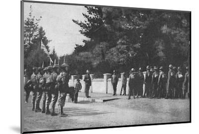 Grenadier Guards (with their new hats) relieving guard at Lord Roberts's headquarters, Pretoria-Unknown-Mounted Photographic Print