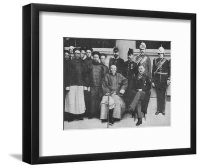 'In Far Cathay - An interesting group at Hong Kong, taken before Li Hung went to Pekin', 1900-Unknown-Framed Photographic Print
