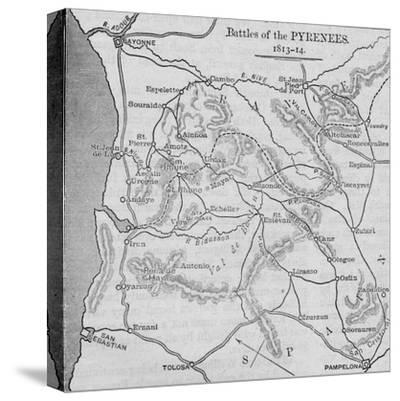 'Battles of the Pyrenees: Sketch Map', 1902-Unknown-Stretched Canvas Print