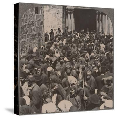 'Palm Procession leaving the Church of the Holy Sepulchure', c1900-Unknown-Stretched Canvas Print