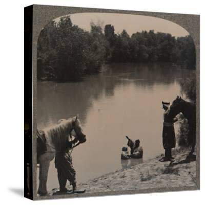 'Baptising in the Jordan', c1900-Unknown-Stretched Canvas Print