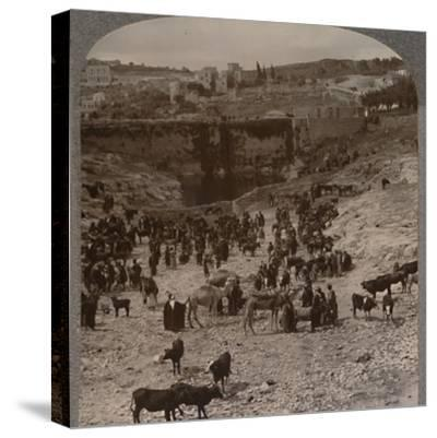 'Market day at the Pool of Gihon', c1900-Unknown-Stretched Canvas Print