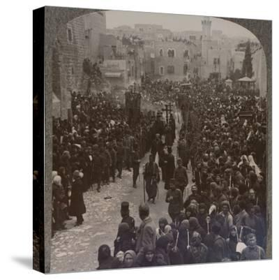 'Christmas procession in Bethlehem', c1900-Unknown-Stretched Canvas Print