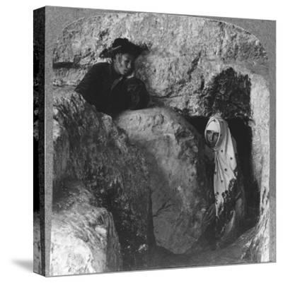 'The Tomb of Christ, showing the Stone, Rolled Away, c1900-Unknown-Stretched Canvas Print
