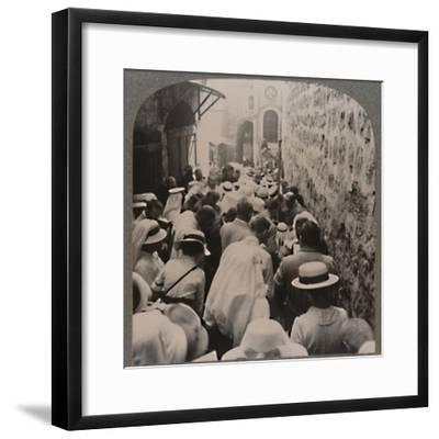 'The Via Dolorosa from the Tower of Antonio to the Church of the Holy Sepulchure', c1900-Unknown-Framed Photographic Print