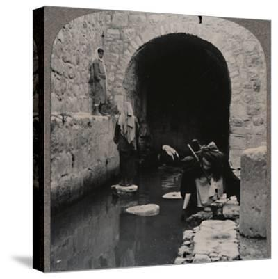 'Blind men washing eyes in the Pool of Siloam', c1900-Unknown-Stretched Canvas Print