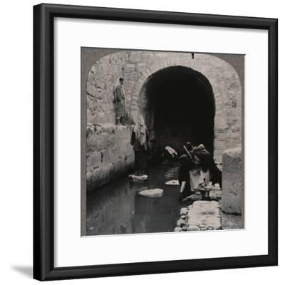 'Blind men washing eyes in the Pool of Siloam', c1900-Unknown-Framed Photographic Print