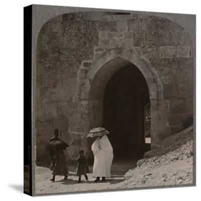'Mahommedan women entering Jerusalem by Herod's Gate', c1900-Unknown-Stretched Canvas Print