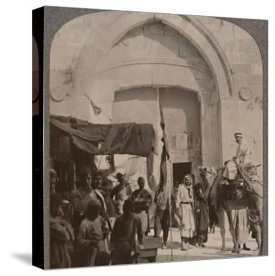 'The Jaffa Gate closed, showing Needle's Eye, Jerusalem', c1900-Unknown-Stretched Canvas Print