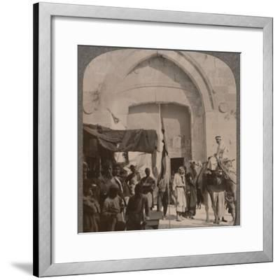 'The Jaffa Gate closed, showing Needle's Eye, Jerusalem', c1900-Unknown-Framed Photographic Print