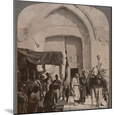 'The Jaffa Gate closed, showing Needle's Eye, Jerusalem', c1900-Unknown-Mounted Photographic Print