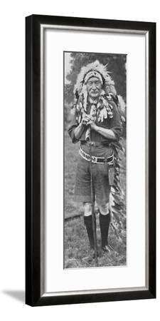 'Sir Robert Baden-Powell, arrayed in the dress of a Red Indian tribe', c1925-Unknown-Framed Photographic Print