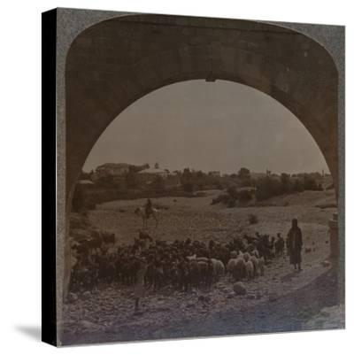 'Aqueduct showing Jericho through Arch', c1900-Unknown-Stretched Canvas Print