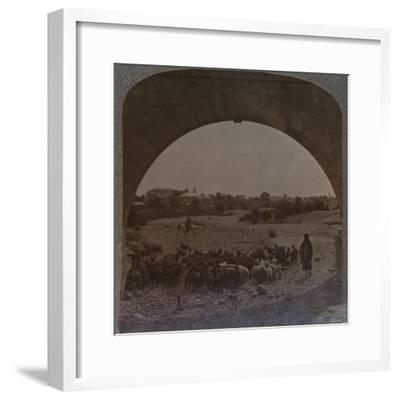'Aqueduct showing Jericho through Arch', c1900-Unknown-Framed Photographic Print