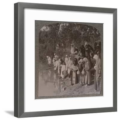 'Russian women holding service on the banks of the Jordan', c1900-Unknown-Framed Photographic Print