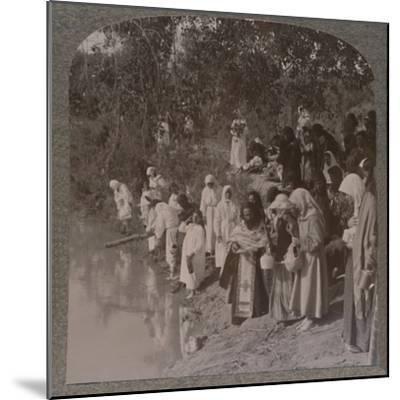 'Russian women holding service on the banks of the Jordan', c1900-Unknown-Mounted Photographic Print