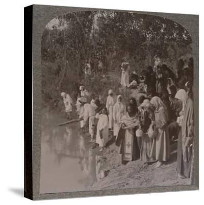 'Russian women holding service on the banks of the Jordan', c1900-Unknown-Stretched Canvas Print