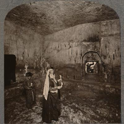 'Interior of the Tombs of the Kings on the road to Nablus', c1900-Unknown-Framed Photographic Print