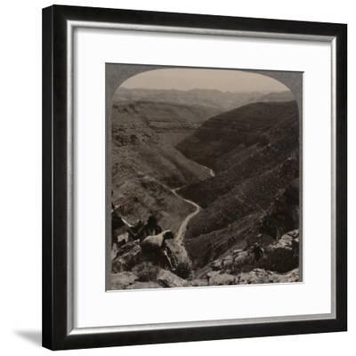 'Valley of the Arno, shepherd and sheep in foreground', c1900-Unknown-Framed Photographic Print