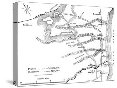 'Plan of the Marches of Pearson (Jan., 1879) and of Chelmsford (April, 1879) to Etschowe', c1880-Unknown-Stretched Canvas Print