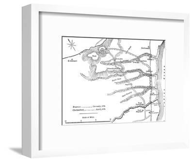 'Plan of the Marches of Pearson (Jan., 1879) and of Chelmsford (April, 1879) to Etschowe', c1880-Unknown-Framed Giclee Print