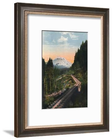 'Mount Rainier from the C. M. & P. S. R. R.', c1916-Asahel Curtis-Framed Photographic Print