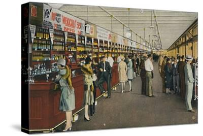 Mexicali Beer Hall, The Longest Bar in the World, c1939-Unknown-Stretched Canvas Print
