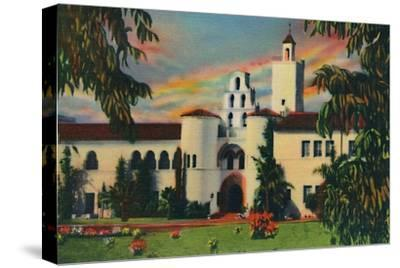 'Main Entrance. Administration Building, State College. San Diego, California', c1941-Unknown-Stretched Canvas Print