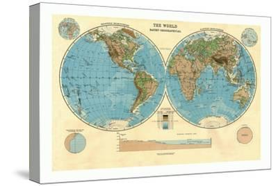 Bathy-Orographical Map of the World, c1920s-Unknown-Stretched Canvas Print
