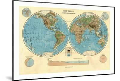 Bathy-Orographical Map of the World, c1920s-Unknown-Mounted Giclee Print