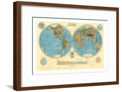 Bathy-Orographical Map of the World, c1920s-Unknown-Framed Giclee Print