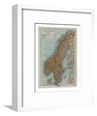 Map of Norway and Sweden, c19th century-Unknown-Framed Giclee Print