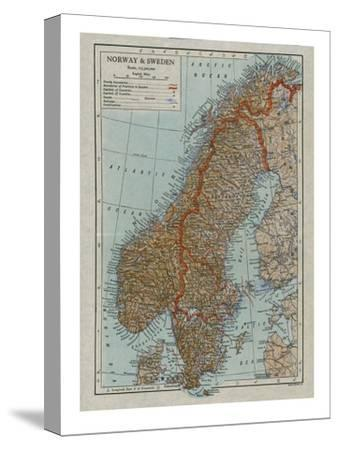 Map of Norway and Sweden, c19th century-Unknown-Stretched Canvas Print