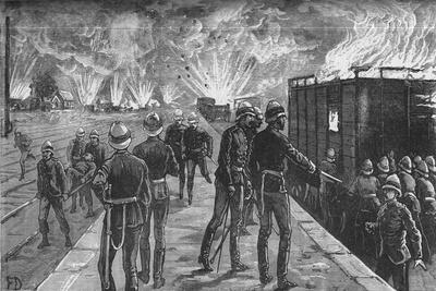 'Explosion at Cairo Railway Station: Bursting of Shells and Ammunition', c1882-85-Unknown-Framed Giclee Print